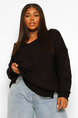 boohoo Plus Sweater V Neck Detail Front And Back
