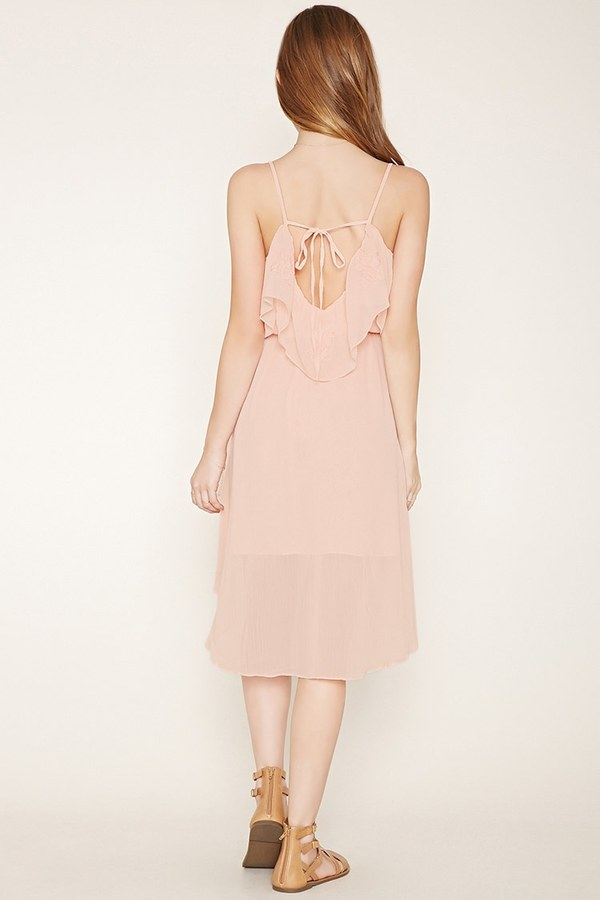 Forever 21 FOREVER 21+ Embroidered Ruffle Dress