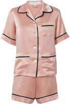 Olivia Von Halle Millicent Oyster Silk Pajama Set