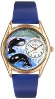 Whimsical Watches Kids' C0140001 Classic Gold Whales Royal Blue Leather And Goldtone Watch