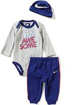 Nike Baby Boys Newborn-12 Months 100 Percent Awesome Long-Sleeve Bodysuit, Pants & Hat Set