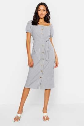 boohoo Tall Button Front Stripe Linen Midi Dress