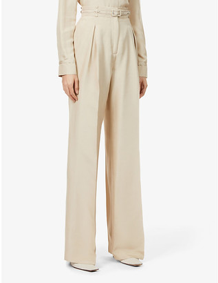 Gabriela Hearst Dora wide-leg high-rise recycled-silk and recycled-wool blend trousers