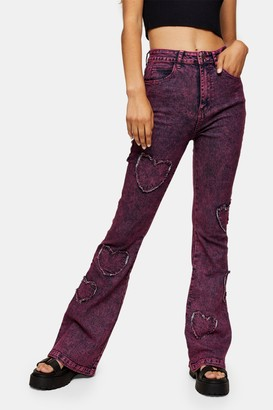 Jaded London Womens **Pink Acid Wash Skinny Flare Leg Jeans By Pink