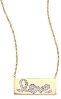 Sydney Evan Pave Love Bar Diamond& 14K Yellow Gold Pendant Necklace
