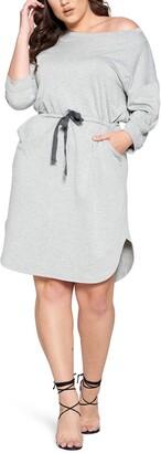 Curvyture Tie Waist Long Sleeve Dress