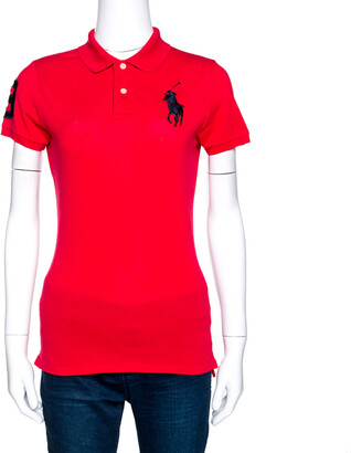 Ralph Lauren Red Cotton Pique Logo Embroidered Polo T-Shirt M