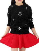 uxcell® Girls Long Sleeves Stars Snowflake Pattern Sweater