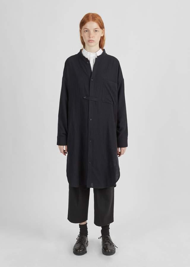 Y's Wool Gauze Shirt Dress Navy