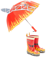 Kidorable Red Firefighter Rain Boots & Umbrella - Infant Toddler & Boys