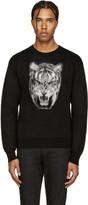 Saint Laurent Black Calf-Hair Tiger Sweater