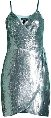 Aidan Mattox Sequin Wrap Mini Dress