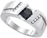 Diamond & CO Sterling Silver Colored Round Channel-Set Natural Diamond Mens Masculine Band Ring 1.03 Cttw