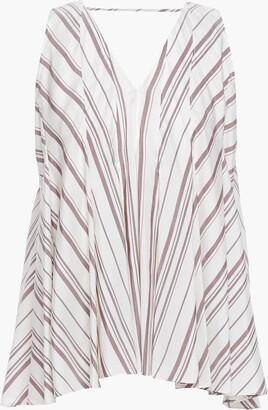 Brunello Cucinelli Cutout Pleated Striped Silk Blouse
