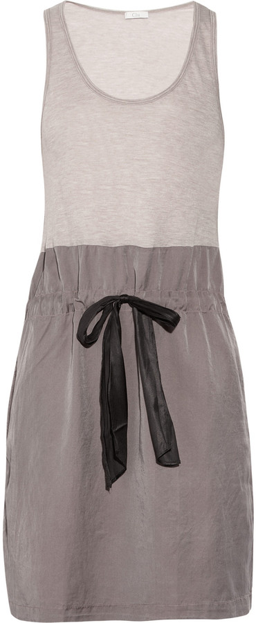 Clu Two-tone jersey and silk-blend tank dress