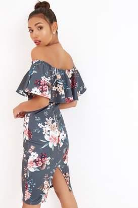 Girls On Film Outlet Floral Print Ruffle Bardot Dress