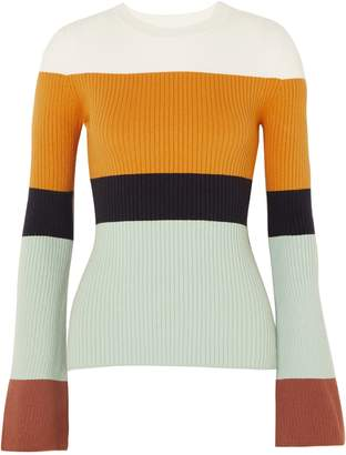 JoosTricot Striped Ribbed Cotton-blend Sweater
