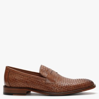 Daniel Xingbang Tan Leather Woven Loafers