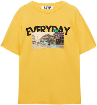 Sjyp Printed Cotton-jersey T-shirt