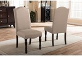 Baxton Studio Zachary Chic French Vintage Oak Brown Beige Linen Fabric Upholstered Dining Chair Set of 2