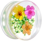"Body Candy 7/8"" Clear Acrylic Dried Spring Flowers Saddle Plug (1 Piece)"