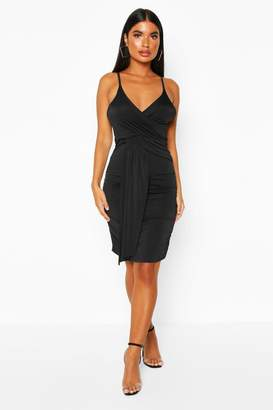boohoo Petite Drape Front Slinky Dress