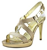 Adrianna Papell Anette Women Open Toe Canvas Gold Sandals.