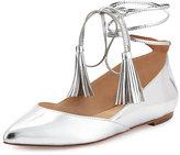 Loeffler Randall Penelop Metallic Ankle-Wrap Flat, Silver