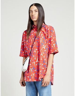 Balenciaga Branded graphic-print regular-fit woven shirt