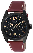 Kenneth Cole Mens Black Round Watch with Brown Leather Strap