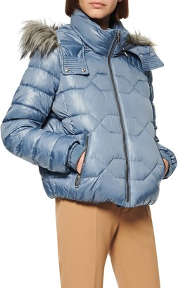 Andrew Marc Faux Fur Trim Hood Puffer Jacket
