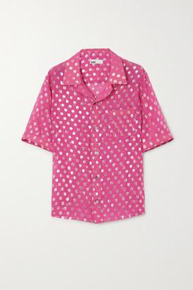 GmbH Luka Metallic Fil Coupe Silk-blend Shirt - Pink