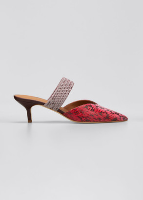 Malone Souliers Maisie 45mm Snakeskin Slide Mules