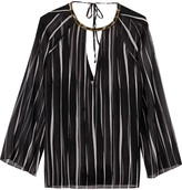 Halston Embellished striped georgette blouse