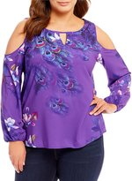 Peter Nygard Plus Printed Cold Shoulder Top
