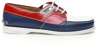 Prada Contrasting Panelled Boat Shoes