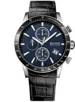 HUGO BOSS Men's 44mm Black Leather Band Steel Case Quartz Dial Analog Watch 1513391