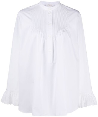 Chloé Pleat-Detail Long-Sleeve Blouse