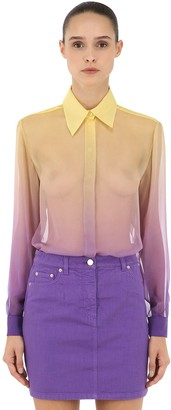 Alberta Ferretti Degrade Sheer Silk Crepe Shirt