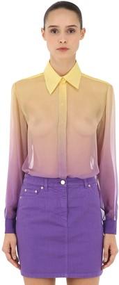 Alberta Ferretti Degrade Sheer Silk Crepe Shirt