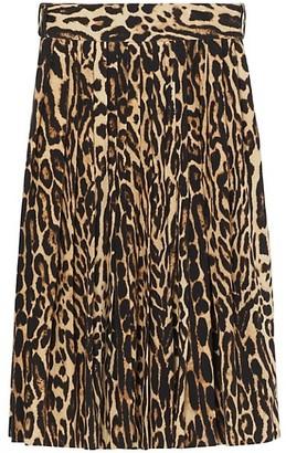 Burberry Leopard Print Pleated Skirt