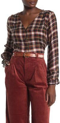 Madewell Plaid Ruffle Cuff V-Neck Blouse
