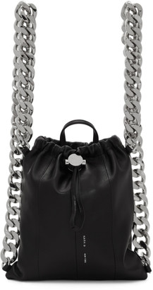 Kara Black Leather Chain Gym Backpack