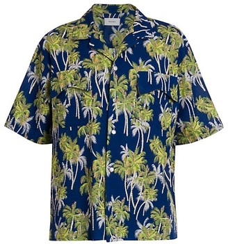 Rhude Palm Tree Seersucker Hawaiian Shirt
