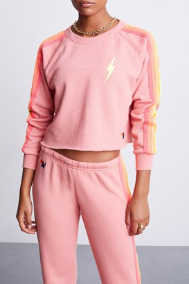Aviator Nation Bolt Cropped Classic Crew Sweatshirt