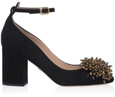 Elie Saab Embroidered Suede Pumps