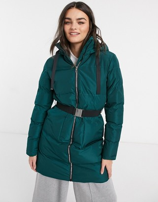 AX Paris belted longline puffer in navy