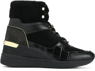 MICHAEL Michael Kors Liv Suede, Smooth And Snake-effect Leather Wedge Sneakers