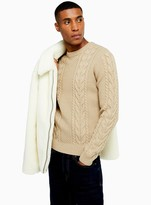 TopmanTopman Stone Cable Knit Jumper With Wool