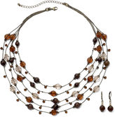 JCPenney Bead & Crystal Necklace & Earring Set